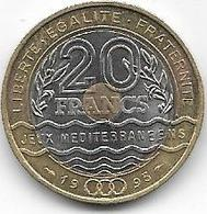 LOT DE 2 PIECES DE 20 FRANCS..JEUX MEDITERRRANEENS + COUBERTIN... - Francia