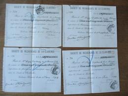 CALONNE-RICOUART SOCIETE DE RECHERCHES DE LA CLARENCE 4 RECUS DE 1894 POUR UNE PART CACHETS FISCAUX 10c 59 - Documents Historiques