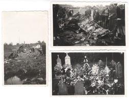 Lot De 3 Photos Originales Crash Du Halifax à Montcony 1942 - Près Louhans ( 71 ) - Format 7 X 11 Cm - Places