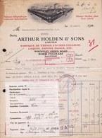 FACTURE DE 1930 - * FABRIQUE DE VERNIS - ENCRES - LAQUES * ARTHUR HOLDEN & SONS BIRMINGHAM - INK FACTORY - Printing & Stationeries