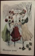 Cpa, Heureuse Année, 3 Femmes, 3 élégantes En Train De Patiner, écrite En 1905 (trèfles, Fer à Cheval), Patinage - Nouvel An