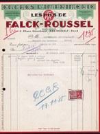 FACTURE DE 1935 - * ENCRES D' IMPRIMERIE - FALCK ROUSSEL BRUXELLES - ART DECO - Printing & Stationeries