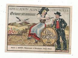 étiquette De Vin  ,GEWURZTRAMINER , Vin D'Alsace ,R. J. Bapst ,Bergheim , Haut Rhin - Gewurztraminer
