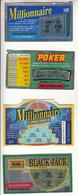 """4 Tickets De Jeu De Grattage """" Millionnaire,Poker,Black Jack """" Prix En Franc - Lotterielose"""