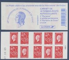 N° 1513 Carnet Les 60 Ans De La Marianne Dulac Auto Adhésif   Faciale LP X 5 Et 0,53€ X 5 - Freimarke