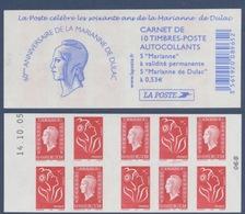 N° 1513 Carnet Les 60 Ans De La Marianne Dulac Auto Adhésif   Faciale LP X 5 Et 0,53€ X 5 - Definitives
