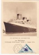 CM:MONACO:  LE PAQUEBOT , L'EX-NORMANDIE  : 1er Jour 29 - 6 - 1953 Neuf - Cartes-Maximum (CM)