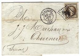 FRANCE 1868:  Lettre De Besançon Pour La Suisse Du 20 Oct.68 Avec Le Y&T30 Et Obl.  GC456 - 1863-1870 Napoleone III Con Gli Allori