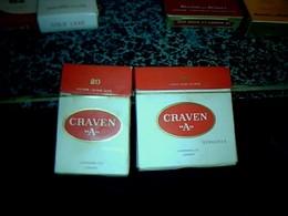 """Publicité Ancienne Boites X 2 Différentes En Carton De Cigarette Vide Anglaise Cravent """" A"""" London - Cigarettes - Accessoires"""