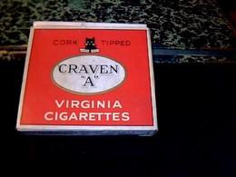 """Publicité Ancienne Boite En Carton De Cigarette Vide Anglaise Cravent """" A""""  CORK TIPPED - Cigarettes - Accessoires"""