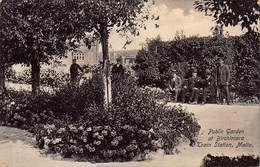 CPA Public Garden At Birchircara, Train Station, Malta - Malte