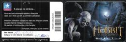 Carte 2012 Hobbit Un Voyage Inattendu Places De Cinéma Kinepolis Collector - Unknown Origin