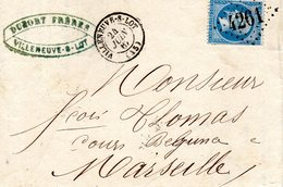Lettre En Date Du 24 Juin 1867 Au Départ De Villeneuve Sur Lot Pour Marseille (voir Les 2 Scans) - 1849-1876: Periodo Classico