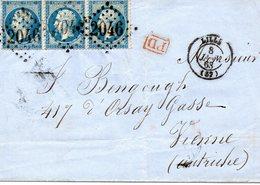 Enveloppe En Date Du 8 Janvier 1863 Au Départ De LILLE Pour VIENNE ( Autriche) Voir Les 2 Scans - 1849-1876: Periodo Classico