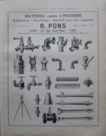 Matériel Contre L'Incendie R PONS  - Page Catalogue Technique De 1925 (Dims Env 22 X 30 Cm) - Planches & Plans Techniques