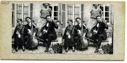 Photos Stéréoscopiques - Nuits Saint  Georges ( Cote  D' Or ) - Groupe De Musiciens ( Recto  Verso ) - F 46 - Stereoscopio