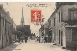 VILLENEUVE Les GENÊTS  L'Eglise Et Route De St Fargeau - Autres Communes