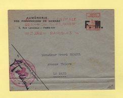 Aumonerie Des Prisonniers De Guerre - 23 Juin 1944 - Croix Rouge - Marcophilie (Lettres)