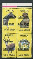 259 - ANGOLA 1986 - 4 Valeurs Surcharge - Zebre Antilope Felin ... - Neuf ** (MNH) Sans Charniere - Angola