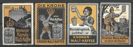 Germany Ca 1910 Kronen Malz-Kaffee Altenburg 4 Vignetten Werbemarken - Erinnophilie