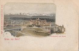 GRUSS AUS BERN → Kirchenfeld Mit Den Alpen, Alter Lichtdruck, Ca.1900 - BE Berne