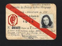 1974 PASSE Da CP Companhia Dos Caminhos De Ferro Portugueses - FREQUENCIA De ESCOLAS Pass Ticket TRAIN Portugal - Abonnements Hebdomadaires & Mensuels