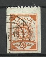 LETTLAND Latvia 1919 Michel 19 Upper Margin Perforated 9 3/4 O - Lettonie