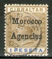 MAROC (bureaux Anglais): I: Tous Les Bureaux Jusqu'à 1918 N°7(B) Oblitéré, Surcharge Locale    - Cote 30€ - - Groot-Brittannië (oude Kolonies En Protectoraten)