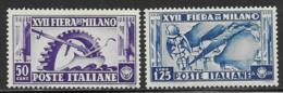 Italy Scott # 357-8 Mint Hinged Milan Trade Fair, 1936 - 1900-44 Vittorio Emanuele III