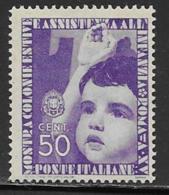 Italy Scott # 371 Mint Hinged Child Giving Salute, 1937 - 1900-44 Vittorio Emanuele III
