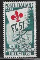Italy Scott # 575 Used International Gymnastic Festival, 1951,  CV$500.00 - 6. 1946-.. Republic