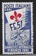 Italy Scott # 576 Used International Gymnastic Festival, 1951,  CV$500.00 - 6. 1946-.. Republic