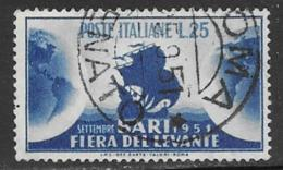 Italy Scott # 585 Used Tartan And Globes, 1951, Thin - 6. 1946-.. Republic