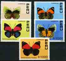 Peru 1990 MiNr. 1419 - 1423 INSECTS BATERFLIES 5V MNH**   10,00 € - Farfalle