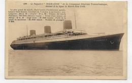 (RECTO / VERSO) PAQUEBOT NORMANDIE EN 1937 - N° 199 - PLIS ET COUPURE A DROITE - CPA VOYAGEE - 75 - Paquebots