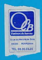 AUTOCOLLANT OCB L'UNIVERS DU BUREAU 8 RUE DU MARCHE DE GROS 66000 PERPIGNAN - Autocollants