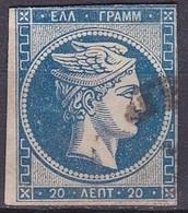 GREECE 1875-80 Large Hermes Head On Cream Paper 20 L Blue H 51 B - 1861-86 Hermes, Groot