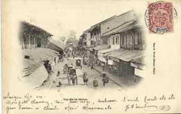 Une Rue De Cholon  + Beau Timbre 10 Surchargé INDO -CHINE Cachet 1904RV - Vietnam