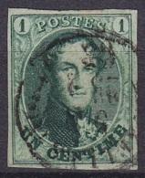 Belgique - N°9 Oblit. 1c Vert - Très Bien Margé - TTB ! - 1858-1862 Medaillen (9/12)