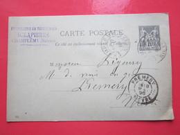 Cp écrite CHAPELLERIE DELAPIERRE à CHAMPLEMY (58)14/05/1896 Oblitérée à CHAMPLEMY & PREMERY (58) Timbre Entier Type SAGE - Ganzsachen