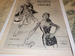 ANCIENNE PUBLICITE HABILLE LES FEMMES KESTOS VAHINE  1953 - Autres