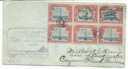 USA PA 5C BLOC DE 6 SAN JUAN 1930 LETTRE COVER  POUR CAYENNE GUYANE FRANCAISE FIRST FLIGHT AIR MAIL FRENCH GUIANA - Lettres & Documents