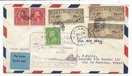 USA 15CX3+1C+2CX2 LETTRE AVION MIAMI NOV 18 1930 POUR RIO BRAZIL VIA GUYANE FRANCAISE - Guyane Française (1886-1949)