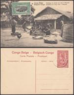 """CONGO EP VUE 10C ROUGE """"N°19 Congo Belge Emballage De Poisson Sec Dans Le Mayumbe"""" (DD) DC7041 - Ganzsachen"""