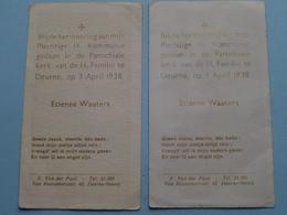 H. Kommunie Van Etienne WAUTERS Op 3 April 1938 Te DEURNE H. Familie ( Zie Foto's ) 2 Stuks ! - Communion