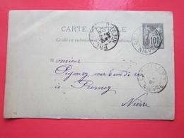 Cp écrite à CHAMPLEMY (58)22/05/1896 Oblitérée à CHAMPLEMY & PREMERY (58) Timbre Entier Type SAGE - Ganzsachen