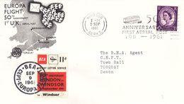 Grande Bretagne  - Lettre De 1961 - Oblit Windsor - 50 Ième Vol Birmingham London Windsor Torquay -avec Vignette- Europa - Lettres & Documents