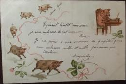 Cpa, 1900, Illustrateur, Cochons Courant, Et Cochon écrivain, Tréfle, Voeux, Chance,série V N°4, écrite De Suisse - Illustrateurs & Photographes