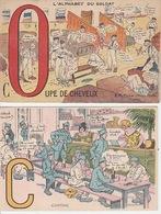 20 / 2 / 357. -  HUMOUR,  L'ALPHABET  DU  SOLDAT  -  O  &  C  - 2. CPA - Umoristiche