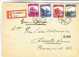 Allemagne - Empire - Lettre Recom De 1935 - Oblit M. Gladbach - Exp Vers Amsterdam - Trains - - Allemagne